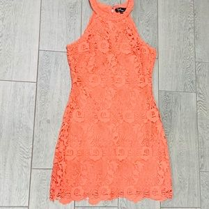 Lulu's lace coral dress sz large